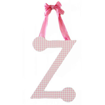 My Baby Sam Hanging Gingham Letter with Ribbon, Pink