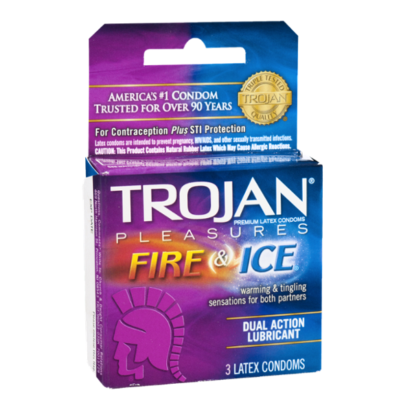 Trojan Premium Latex Condoms Pleasures Fire & Ice - 3 CT