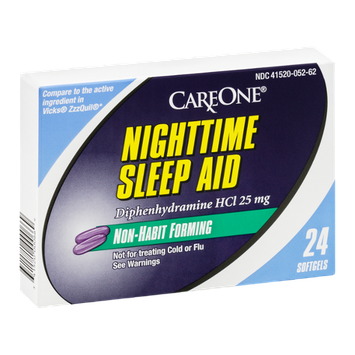 CareOne Nighttime Sleep Aid Softgels Non-Habit Forming - 24 CT