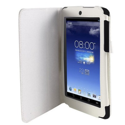 Unique-bargains White Faux Leather Flip Folio Stand Case Cover for ASUS MeMO Pad HD 7 ME173X