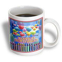 Recaro North 3dRose - Beverly Turner Design - Balloons and Candles, Happy Birthday - 15 oz mug