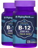 Piping Rock Vitamin B12 2500mcg + Folic Acid 400mcg 2 Bottles x 120 Lozenges