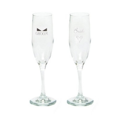 Hortense B. Hewitt Bride and Groom Champagne Flutes