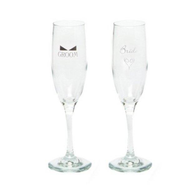Hortense B. Hewitt Bride and Groom Champagne Flutes