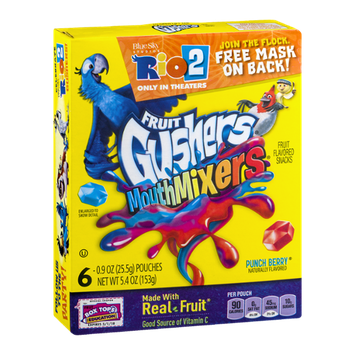 Fruit Gushers Mouth Mixers Fruit Flavored Snack Pouches Punch Berry - 6 PK