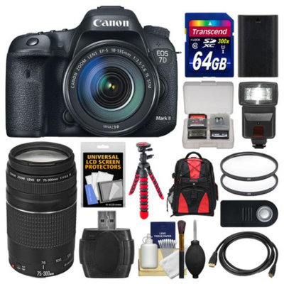 Canon EOS 7D Mark II GPS Digital SLR Camera & EF-S 18-135mm IS STM with 75-300mm III Lens + 64GB Card + Backpack + Flash + Battery + Tripod + Kit