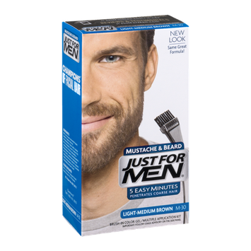 Just For Men Mustache & Beard Brush-In Color Gel Application Kit Light-Medium Brown M-30