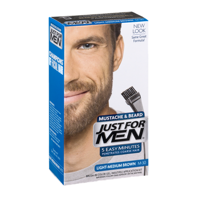 Just For Men Mustache & Beard Brush-In Color Gel Application Kit Light-Medium Brown M-30