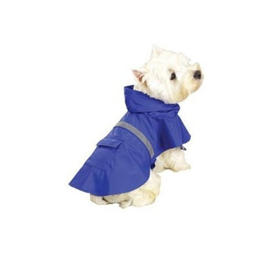 Guardian Gear Vinyl Dog Rain Jacket with Reflective Strip, XX-Large, Blue