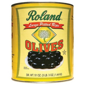 Roland Large Pitted Ripe Olives, 3-Pounds. 3-Ounces Can (Pack of 2)
