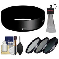 Nikon HB-N101 Bayonet Lens Hood for Nikon 1 10-30mm VR (Black) with 40.5mm (UV/CPL/ND8) Filter Set + Cleaning Kit
