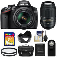Nikon D3200 Digital SLR Camera & 18-55mm G VR DX AF-S Zoom Lens (Black) with 55-300mm VR Lens + 16GB Card + Case + Filters + Remote + Accessory Kit