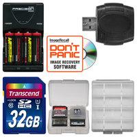 Transcend AA Batteries & Charger + 32GB SD Card Essential Bundle for Nikon Coolpix L28, L30, L820, L830 Digital Camera
