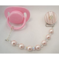 Crystal Dream Baby Pink Big Pearl and Crystals Pacifier Clip