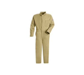 BULWARK CEC2KH RG/58 FR Contractor Coverall, Khaki, 4XL, HRC2