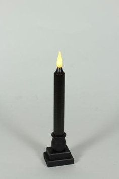 Delighted Home MC-M9B Hand-Waxed Battery-Operated 9 in. Black MC Taper Candle