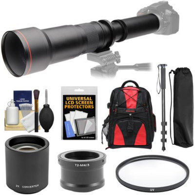 Vivitar 650-1300mm f/8-16 Telephoto Lens with 2x Teleconverter (=2600mm) + Monopod + Backpack + Filter Kit for Olympus Pen/OM-D & Panasonic Lumix Micro Four Thirds Camera