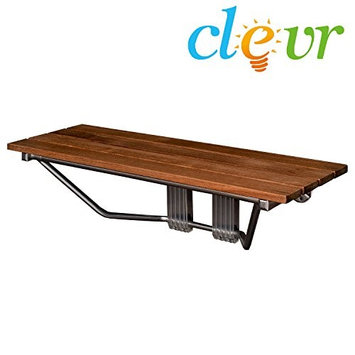 Clevr 36 Double Seat Folding Shower Bench Modern Finished Teak Wood Chrome Spa Bath