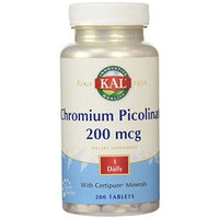 KAL Chromium Picolinate Tablets, 200 mcg, 200 Count