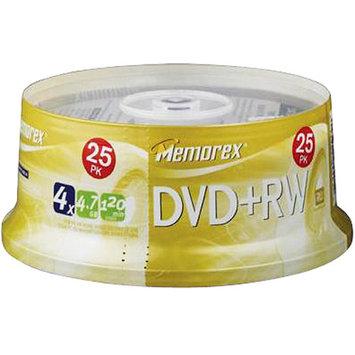 Memorex 05541 DVD+RW Discs- 4. 7GB- 4x- Spindle- Silver- 25/Pack