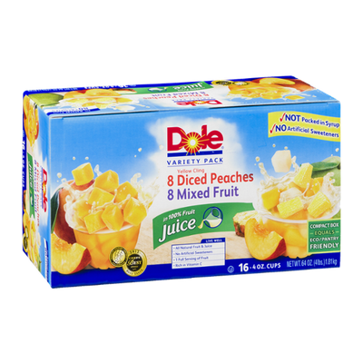 Dole Variety Pack 8 Diced Peaches 8 Mixed Fruit Cups - 16 CT