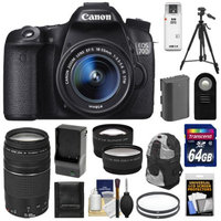 Canon EOS 70D Digital SLR Camera & EF-S 18-55mm IS STM Lens with 75-300mm Lens + 64GB Card + Battery & Charger + Backpack Case + Filters + Tripod + Telephoto & Wide-Angle Lenses + Accessory Kit