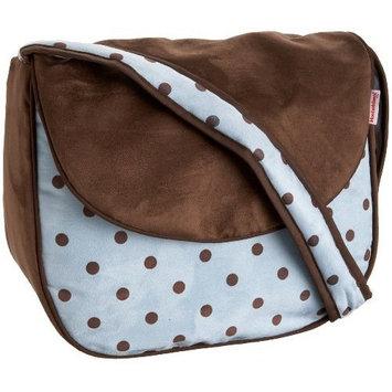 Hoohobbers Dots Blue Messenger Diaper Bag,Blue/Brown,one size