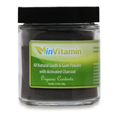 inVitamin Natural Tooth & Gum Powder with Activated Charcoal, 2.75oz [Cinnamint]