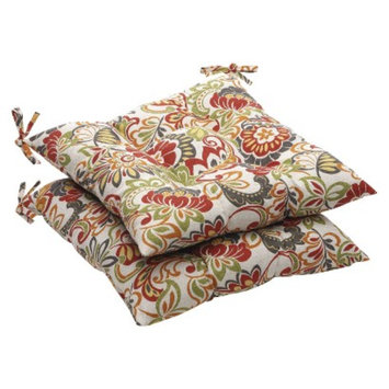 Pillow Perfect Outdoor 2-Piece Tufted Chair Cushion Set - Green/Off-White/Red Floral