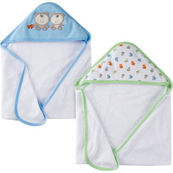 Gerber Newborn Baby Boy Terry Hooded Bath Towels, 2-Pack