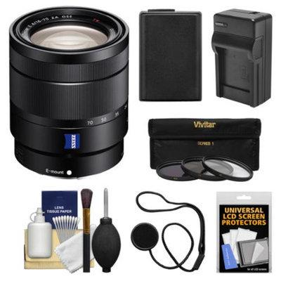 Sony Alpha NEX E-Mount Vario-Tessar T* 16-70mm f/4.0 ZA OSS Zoom Lens with Battery & Charger + 3 Filters + Kit for A3000, NEX-C3, NEX-5N, NEX-5T, NEX-6, NEX-7 Digital Cameras