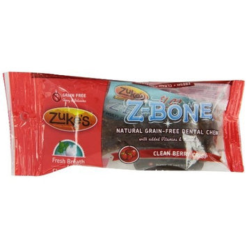 Zuke's Z-Bones Edible Grain-Free Dental Chews, Clean Berry Crisp, Large 2.5-Ounce, Individually Wrapped Bone