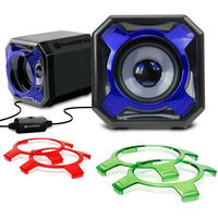 Accessory Power GOgroove SonaVERSE GS3 USB Gaming Speakers with Interchangeable Grills & Powerful 5W Drivers