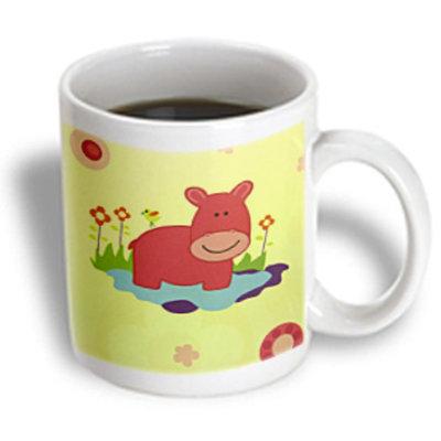 Recaro North 3dRose - Florene Childrens Art - Red Hippo On Blue Purple and Green - 15 oz mug