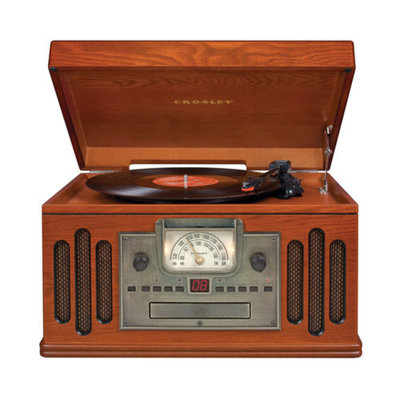 Crosley CR704C-PA Musician 3-Speed Turntable with CD/Cassette Player and Portable Audio Ready Paprika