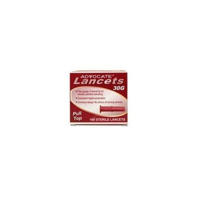 ADVOCATE 30G 100 STERILE LANCETS ADVOCATE Pull top Lancets 30G 100 Count