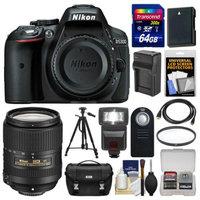 Nikon D5300 Digital SLR Camera Body (Black) with 18-300mm VR Lens + 64GB Card + Case + Flash + Battery/Charger + Tripod Kit