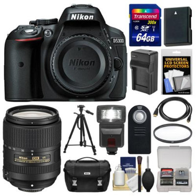 Nikon D5300 Digital SLR Camera Body (Black) with 18-300mm VR Lens + 64GB Card + Case + Flash + Battery/Charger + Tripod Kit