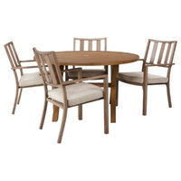Threshold 5 Piece Tan Round Patio Furniture Set, Holden Collection