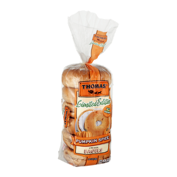 Thomas' Limited Edition Pre-Sliced Bagels Pumpkin Spice - 6 CT