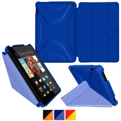 Fire HD 7 (2014) Case, roocase new Kindle Fire HD 7 Origami 3D Slim Shell Case with Sleep / Wake Smart Cover for All-New 2014 Fire HD 7 Tablet (4th Generation), Palatinate Blue / Aruba Blue