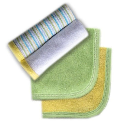 Luvable Friends 4 Pack Washcloths, Green (Discontinued by Manufacturer)