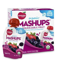 Revolution Foods Organic Mashups Squeezable Fruit, Berry, 4 count, 3.17 oz Packets, (Pack of 6)