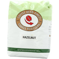 Coffee Bean Direct Hazelnut Flavored, Whole Bean Coffee, 5-Pound Bag