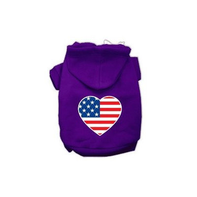 Mirage Pet Products American Flag Heart Screen Print Pet Hoodies Purple Size Med (12)