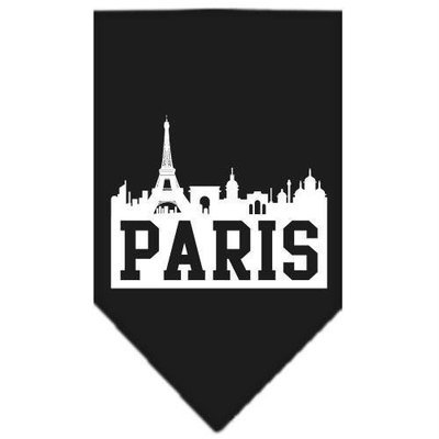 Mirage Pet Products 6681 SMBK Paris Skyline Screen Print Bandana Black Small