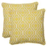 Pillow Perfect Outdoor 2-Piece Square Throw Pillow Set - Yellow/White Starlet