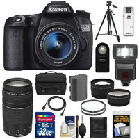 Canon EOS 70D Digital SLR Camera & EF-S 18-55mm IS STM Lens with 75-300mm Lens + 32GB Card + Battery + Case + Tripod + Filters + Flash + Telephoto & Wide-Angle Lenses + Accessory Kit