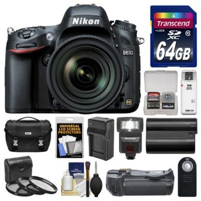 Nikon D610 Digital SLR Camera Body with 24-70mm f/2.8 AF-S Lens + 64GB Card + Case + LED Flash + Grip + Battery & Charger + Filters Kit