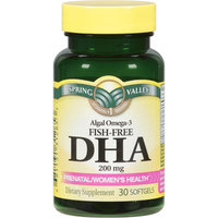 Spring Valley Algal Omega-3 Fish-Free DHA Dietary Supplement Softgels 200mg, 30ct
